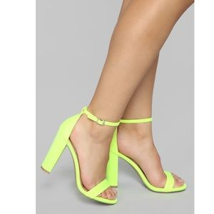 'Just Think About It Heeled Sandals'-Neon Yellow